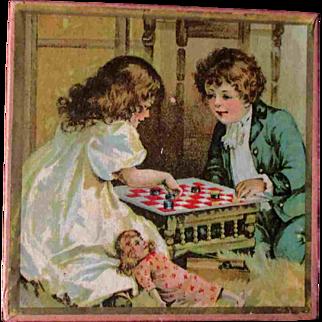 "5"" Lithographed Hankie Handkerchief Box Children Chess Doll"