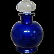 """5"""" Vintage Cobalt Blue Glass Perfume Jar with Stopper Lid"""