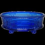 Cobalt Blue Oval Depression Glass Footed Dish Bowl