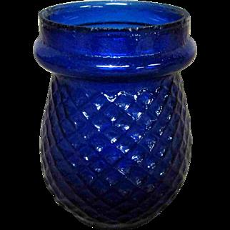 "3.5"" Vintage Cobalt Blue Glass Pinecone Pineapple Pattern Jar"
