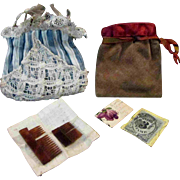 PR Antique Doll Purses with contents