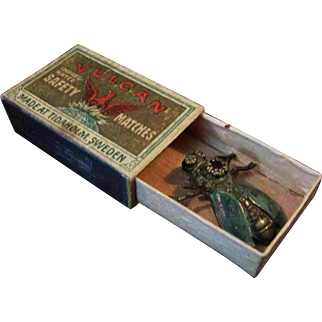 """Absolutely Unique 1"""" Antique Metal Jeweled Bug in Matchbox"""