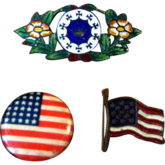 Wonderful Set of 3 Miniature Antique Pins Flowers Flags for Doll