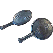 "2 PC 1.5"" Antique Metal Hand Mirror and Brush for your Doll or Dollhouse"