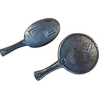 """2 PC 1.5"""" Antique Metal Hand Mirror and Brush for your Doll or Dollhouse"""