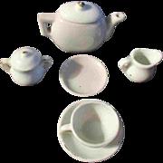 8 PC Miniature Child Doll Tea Set White China Ironstone