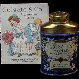 "2.25"" Miniature Colgate Violet Talc Powder Container Calendar 1903"