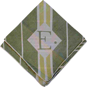Vintage Green Cotton Stripe Initial E Hankie Handkerchief