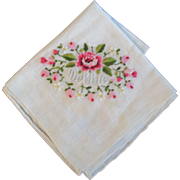 Name Vintage Cotton Embroidered Hankie Handkerchief Debbie