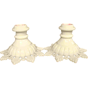 "Westmorland Pair 3.5"" Ring and Petal White Milk Glass Candlesticks Candle Holders"