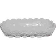 "12"" Large Westmoreland Grape White Milk Glass Dish"