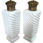 "Fenton 4"" White Milk Glass Swirl Salt and Pepper Shakers Brass Tops"