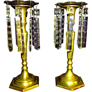 PR Brass Candlesticks with Square Etched Crystal Drops