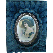 Christmas Sale Early 20th Century Blue Velvet Picture Frame Portrait
