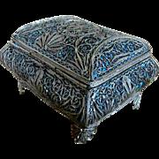Christmas Sale Ornate Silver-tone Metal Filigree Wire Box Casket