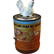 Wonderful Antique Chicken Crank Cackle Toy Works!