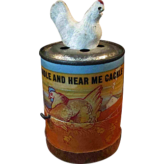 Wonderful Antique Chicken Crank Cackle Toy Works!