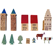 Set of 12 Antique German Wooden Building Blocks Cow Trees Horse Houses