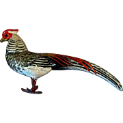 """4"""" Miniature Vintage Painted Plaster Pheasant Figurine or Toy for Doll"""