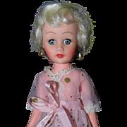 """Sweet 10"""" Platinum Blonde Vinyl 1950s Fashion doll Marked P"""