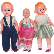 Trio of Vintage Celluloid Doll Girls Boy Brother Sister - Red Tag Sale Item