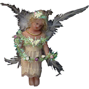 """6"""" Vintage Reworked Wax Christmas Angel Fairy Feather Wings"""