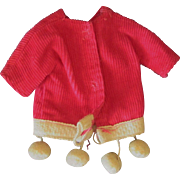 Vintage for Ginny or other 8 inch doll Corduroy Coat Jacket with Tassels