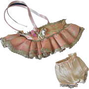"Vintage Factory Made Pink Silver Ballerina Dress Panties for Ginny or other 8"" doll"