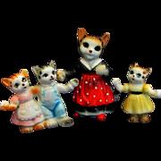 3 PC Three Little Kittens and Mama China Glass Animal Figurines
