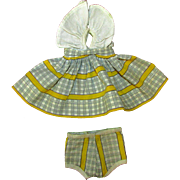 "Vintage 8"" Ginny Muffie or Other Grey Check Yellow Trim Dress Panties"