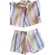 """Vintage 8"""" Ginny or other Small Doll Striped Shorts Top Set"""