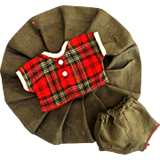 """Vintage 8"""" Ginny Muffie or Other Tagged Red Gray Plaid Blouse Skirt Panties #7143 1957"""