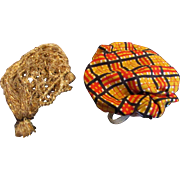 """Vintage 8"""" Ginny Muffie or Other Gold Cloche Plaid Hats"""