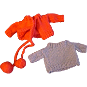 """Pair of Clone or Mommy Made Knit Sweaters for Vogue Ginny or other 8"""" Doll"""