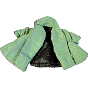 """Vintage Pea Green Homemade Cloth Coat or Ginny Muffie or other 8"""" Doll"""