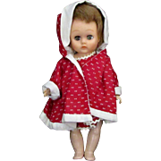 "Sweet Little 8"" 1950s 1960s Girl Doll Red Dress Hat"