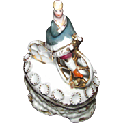 Rare Antique China Fairing Trinket Box Woman on Bicycle Cyclist