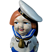 """6.5"""" 1930s or 1940s Chalkware Sailor Figure or Figurine Made in Japan"""