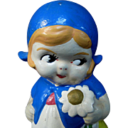 "6.5"" 1930s or 1940s Chalkware Dutch Girl Figure or Figurine Made in Japan"