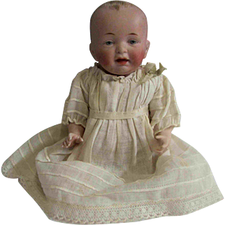 """Large 8"""" Finely Formed Brushstroke Hair All Bisque Boy Baby Doll"""