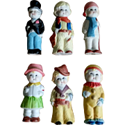 Set of 6 Candy Store All Bisque Dolls Cowboy Top Hat More