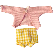 """Set Pink Sweater Top Yellow Check Pants for Ginny Muffie or other 8"""" Doll"""