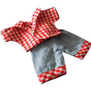 """Factory Made Check Shirt Blue Jeans with Cuffs for Ginny Ginger or other 8"""" 1950s doll"""
