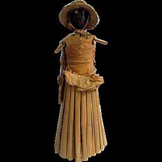 Unique 11' Black Nutshell Corn Husk Doll Purse Hat Apron