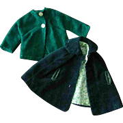 Tammy Other Fashion Doll Clone Mommy Made Clothes 2 PC Green Cape Coat