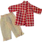 """12"""" Ideal Tammy or other Fashion Doll Tagged White Corduroy Pants Check Top"""