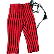 """12"""" Ideal Tammy or other Fashion Doll Red Black Velour Striped Pants Trousers"""