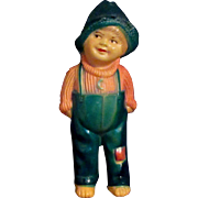 """5.5"""" Cute Vintage Celluloid 'Our Gang' type Boy Hat Overalls"""
