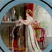 "Lovely Vintage 7.5"" Glass Chimney Flue Cover Woman Longing for Lover Mica decoration"
