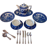 1940's Tea for Two Blue Willow Doll or Child's Teaset Dishes